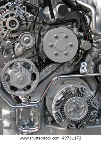 automobile engine. truck fuel engine. - stock photo
