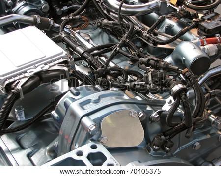 Automobile motor. Car motor engine. Fuel engine. Petrol engine. - stock photo