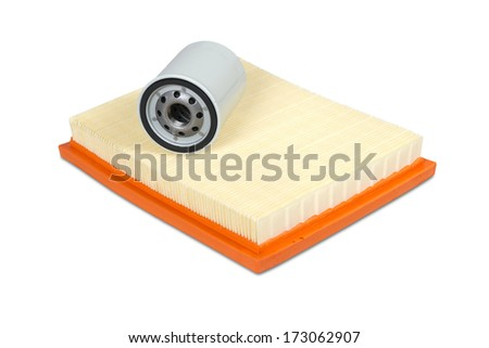 Automobile oil and air filters isolated on white with clipping path - stock photo