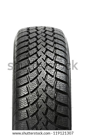 automobile wheel new black tyre for winter car driving isolated on white background - stock photo
