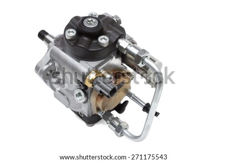 automotive fuel injection pump for diesel engines on a white background - stock photo