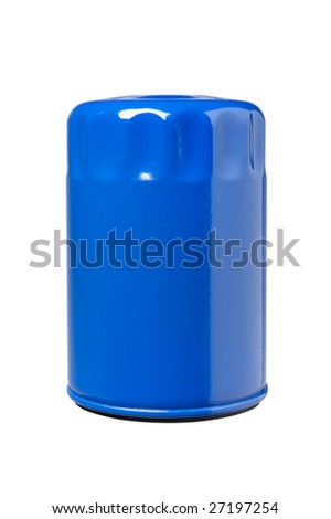 Automotive or small truck oil filter. Clipping path on object. - stock photo