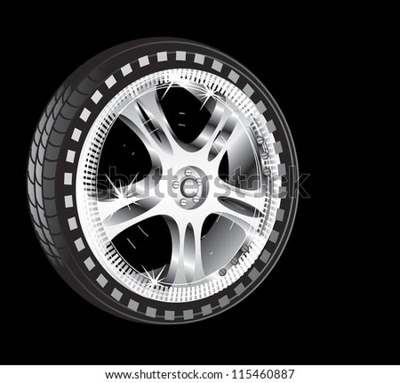 automotive wheel with alloy wheel and low profile tire - stock photo