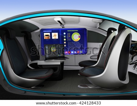 Autonomous car interior concept. Ceiling-mounted monitor help business man have video meeting when they moving on road. 3D rendering image. - stock photo