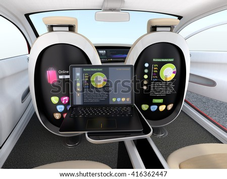 Autonomous car interior concept. Screen of the seat and laptop showing same document in sync mode. Concept for new business work style in future. 3D rendering image. - stock photo