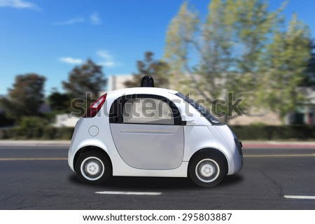 Autonomous self-driving driverless (drive) vehicle driving on the road - stock photo