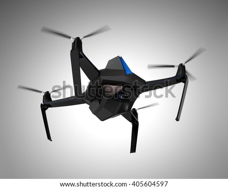 Autonomous unmanned drone with surveillance camera. Flight control by sonar system (blue line in the front of the body). Clipping path available.   3D rendering image. - stock photo
