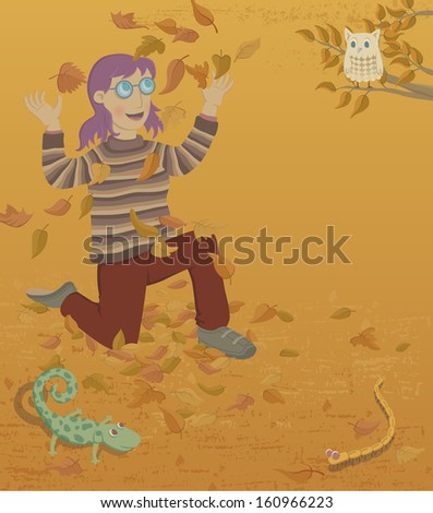 Autumn. A young woman throwing up fall' leaves. Nearby there is an owl, a lizard and a worm. - stock photo