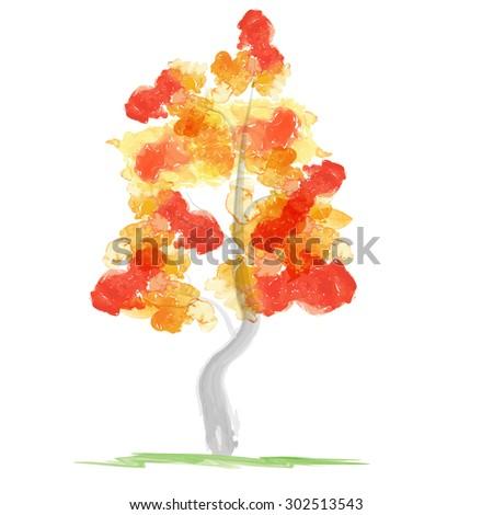 Autumn abstract tree - stock photo
