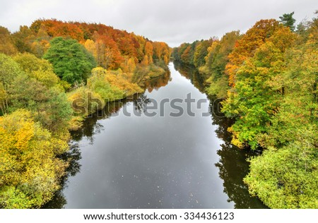 Autumn aerial landscape of Morrum river in Sweden - stock photo