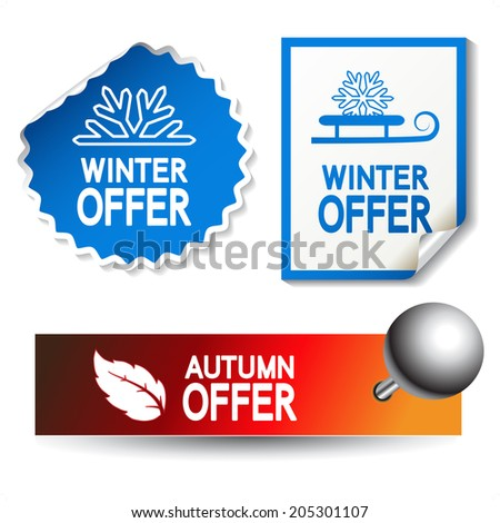autumn and winter offer stickers - stock photo