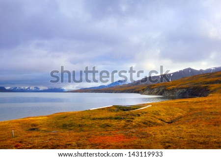 Autumn arctic landscape with ancient ruins of coast-dweller's house on the sea shore and distant mountain range in Spitsbergen (Svalbard island), Norway, Greenland sea - stock photo