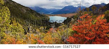 Autumn at Lake Stephen, Argentina - stock photo