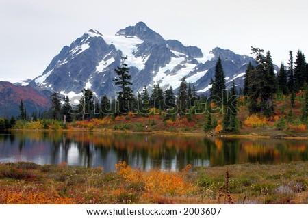 Autumn at Mount Baker - stock photo