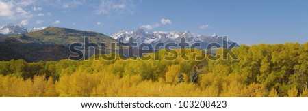 Autumn at Sneffels Mountain Range, San Juan National Forest, Colorado - stock photo