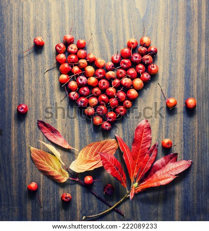 Autumn background/Autumn leaves and berry as a heart over wooden background/Thanksgiving day concept - stock photo