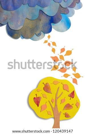 autumn background of rough paper - stock photo