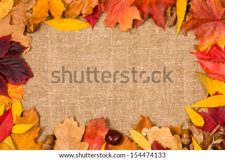 Autumn background or frame for text - stock photo