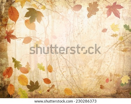 Autumn background with falling leaves - stock photo