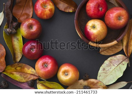 Autumn background with Red apples, pomegranate, limes on black dark background. Thanksgiving border made of autumn fruits with copy space - stock photo