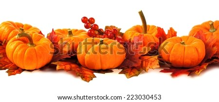 Autumn border of pumpkins and leaves over a white background - stock photo