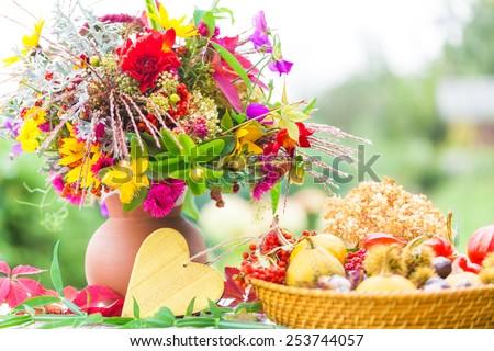 Autumn Bouquet, colorful autumn decoration - stock photo