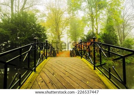 Autumn - bridge in autumn park - stock photo