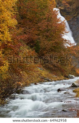Autumn brook with mini waterfalls flowing in the national park - stock photo