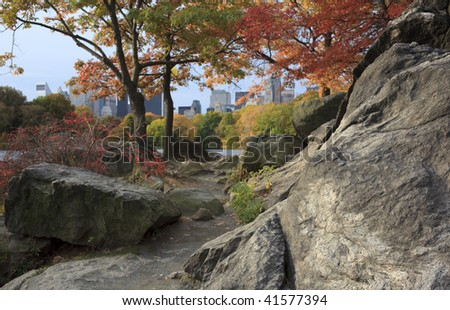 Autumn by the lake in Central Park in the early morning - stock photo