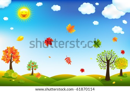 Autumn Cartoon Landscape With Trees And Leaves - stock photo