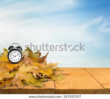 Autumn, Clock, Daylight Savings Time. - stock photo
