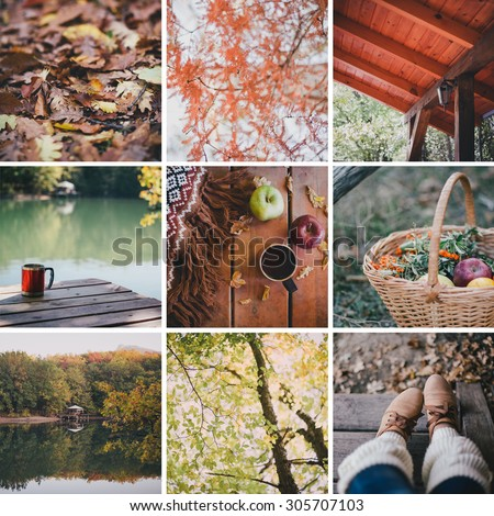 Autumn collage of nine photos. Fall. Cozy mood - stock photo