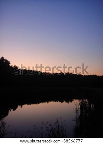 Autumn colorful sunset - stock photo