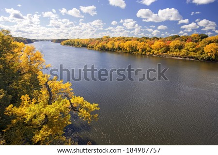 Autumn colors along the Mississippi River, Minnesota - stock photo