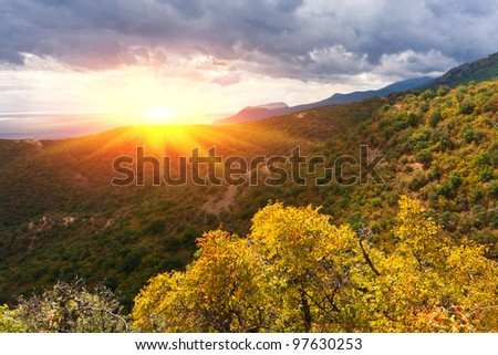 autumn colors in crimean mountains - stock photo