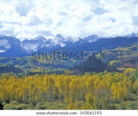 Autumn colors in the Sneffels Mountain Range, Dallas Divide, San Juan National Forest, Colorado - stock photo