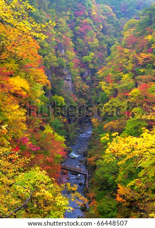 Autumn Colors of Naruko-Gorge, located at Miyagi Prefecture Japan - stock photo