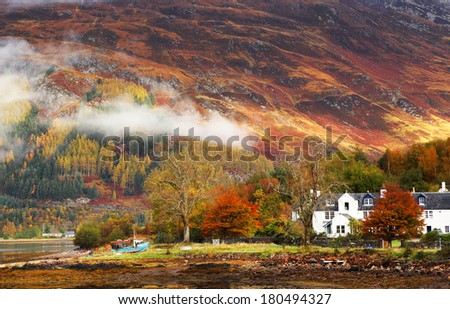 Autumn colours in Highlands, Scotland, Europe - stock photo