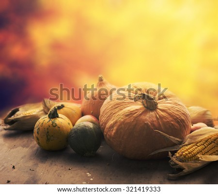 Autumn concept. Seasonal vegetables on wooden table. - stock photo