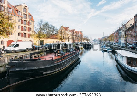 Autumn Copenhagen canal with boats - stock photo
