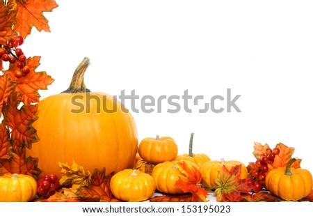 Autumn corner border or frame with leaves and pumpkins - stock photo