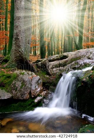 autumn creek in Czech republic - stock photo