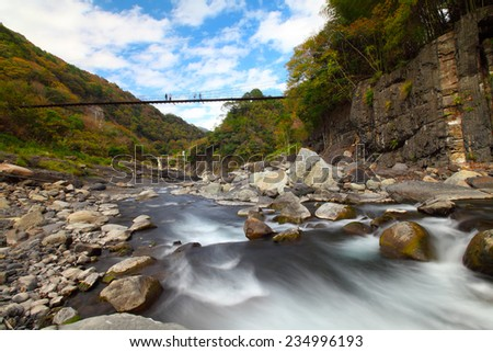 Autumn creek with maple trees in Hsinchu, Taiwan - stock photo