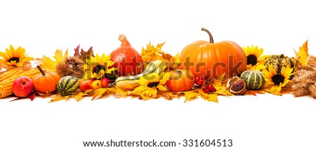 Autumn decoration arranged with dry leaves, pumpkins and more, isolated on white, wide format - stock photo