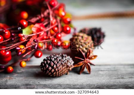 Autumn decoration on rustic background - stock photo