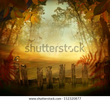 Autumn design - Forest with wood fence. Fall art design with landscape with pastel colors in woods - stock photo