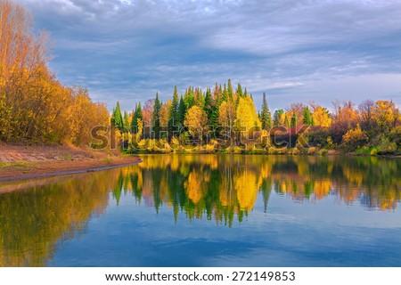Autumn evening in the Siberian taiga - stock photo