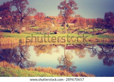 Autumn. Fall. beautiful autumn background - stock photo