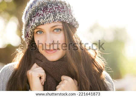 Autumn fall portrait of a beautiful woman - stock photo