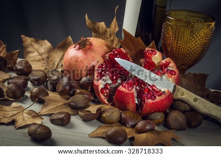 Autumn Fall still-life with red wine, pomegranate and chestnuts - stock photo